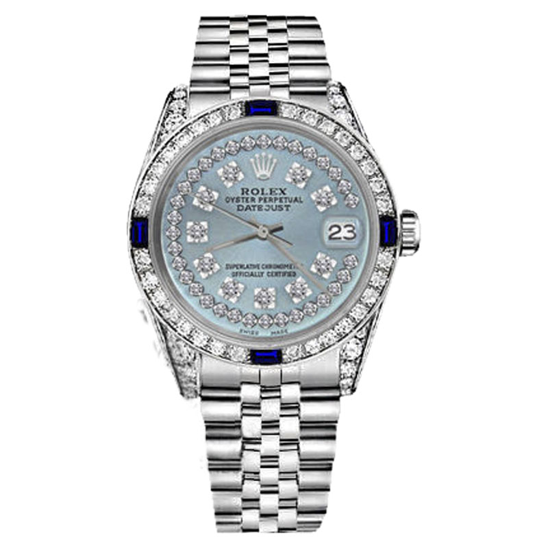 """Image of """"Rolex Datejust Stainless Steel Ice Blue String Dial With Sapphire &"""""""