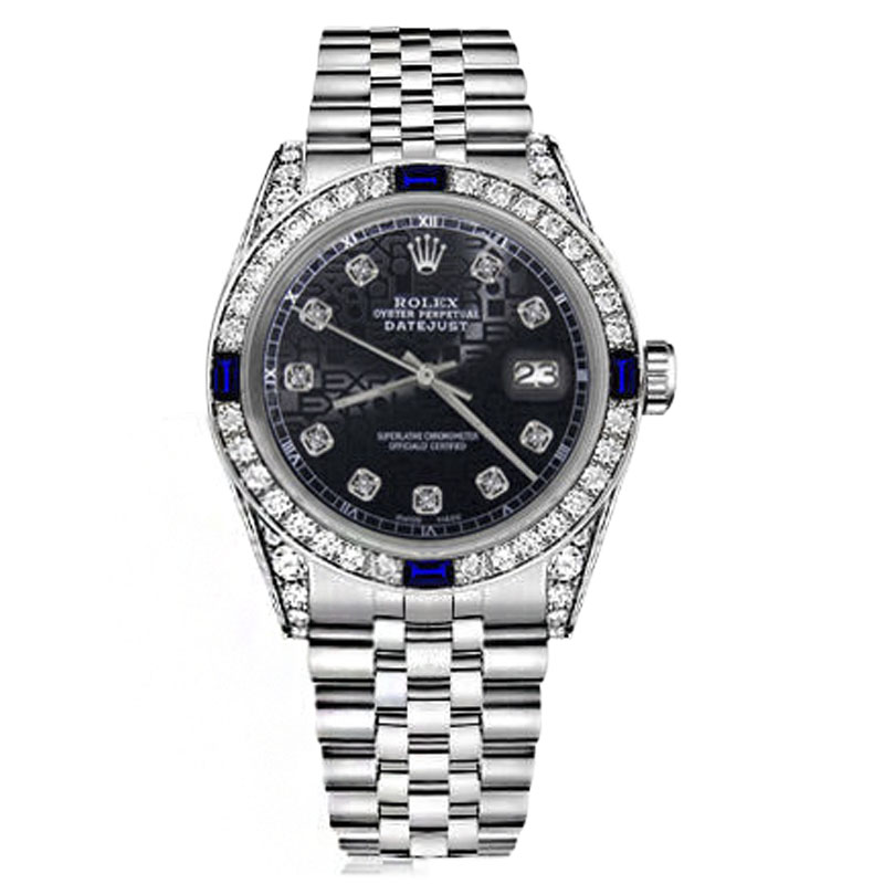 "Image of ""Rolex Datejust Stainless Steel Jubilee Black Dial Sapphire & Diamond"""