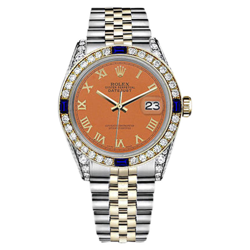 """Image of """"Rolex Datejust Stainless Steel/ 18K Gold Orange Roman Numeral Dial"""""""