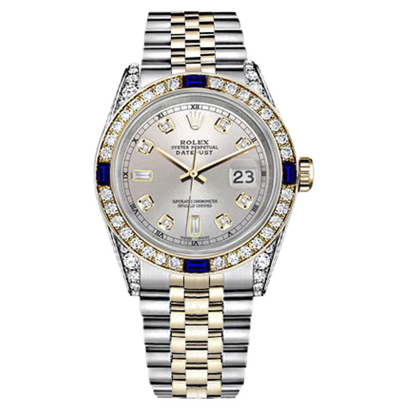 """Image of """"Rolex Datejust Stainless Steel/ 18K Gold Silver Dial with Sapphire &"""""""