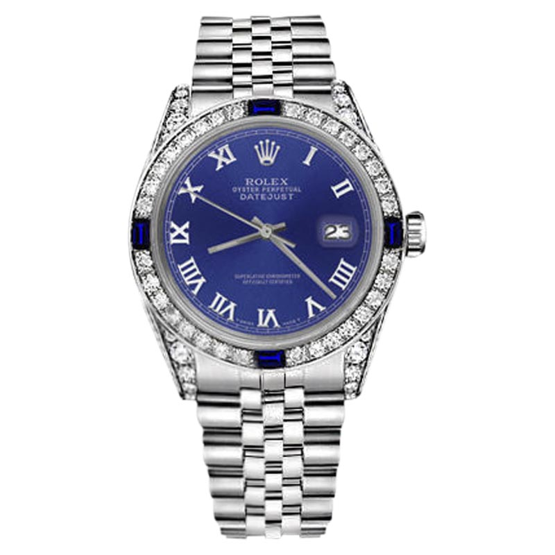 """Image of """"Rolex Datejust Stainless Steel Blue Roman Numeral Dial Sapphire &"""""""