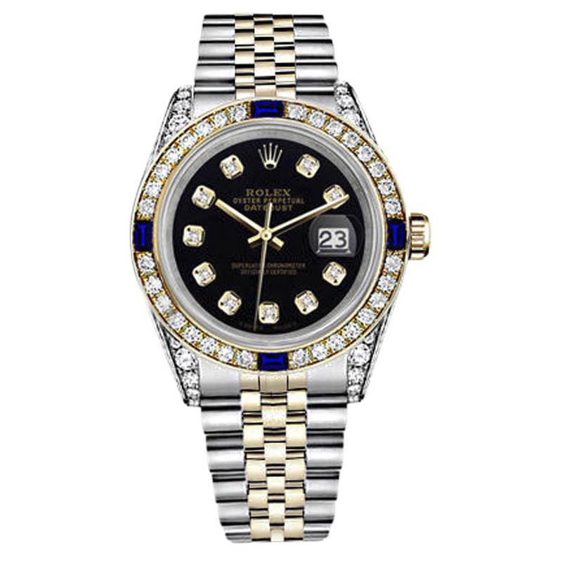 "Image of ""Rolex Datejust Two Tone 18K Gold/ Stainless Steel Black Dial with"""