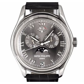 Patek Philippe 5056P-001 Platinum / Genuine Leather 37mm Mens Watch