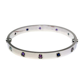 Cartier Love 18K White Gold & Gemstones Bracelet Size 17