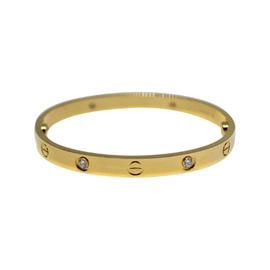Cartier Love 18K Yellow Gold Diamond Bracelet Size 17
