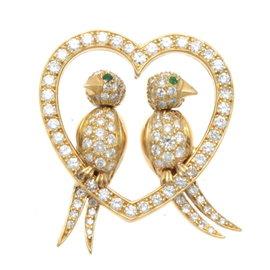 Van Cleef & Arpels 18K Yellow Gold Diamond & Emerald Bird Pendant
