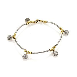 Philippe Charriol 1ct Diamonds 18K Yellow Gold Stainloess Steel Cable & Tear Drop Charm Bracelet