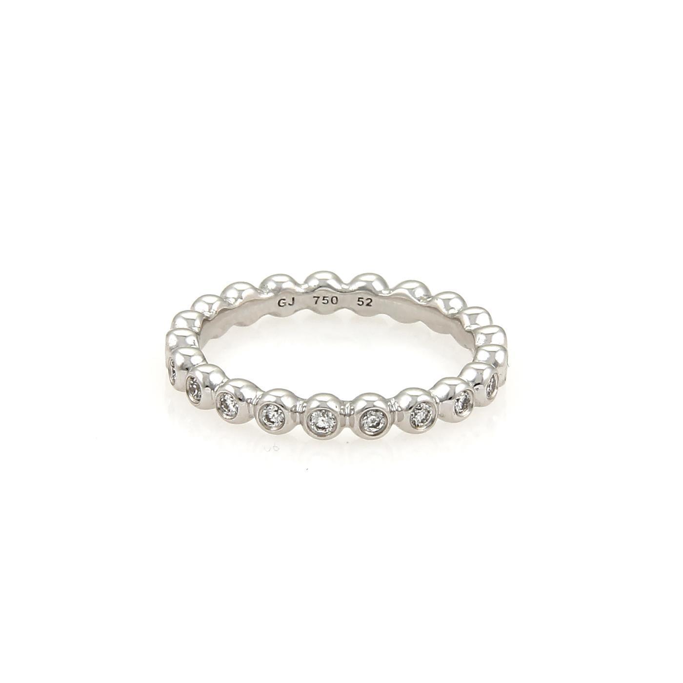 "Image of ""Georg Jensen 18K White Gold Diamond Eternity Wedding Band Ring Size 6"""