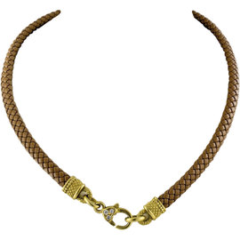 Judith Ripka 18K Yellow Gold Tan Woven Leather Chord Diamond Necklace