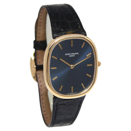 Patek Philippe Ellipse 3738/100 18K Yellow Gold & Leather Blue Dial 31mm Mens Watch