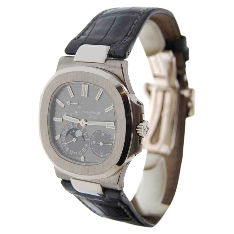 Patek Philippe Nautilus 5712G 18K White Gold & Leather Automatic 40mm