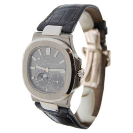 Patek Philippe Nautilus 5712G 18K White Gold & Leather Automatic 40mm Mens Watch