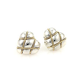 Tiffany & Co. Sterling Silver 18k Yellow Gold Wire Wrap Hearts Stud Earrings