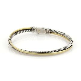 David Yurman 925 sterling Silver & 18K Yellow Gold Double Wire & Cable Band Bracelet