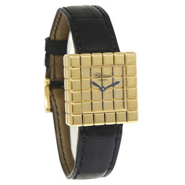 Chopard Ice Cube 27/7407 18K Yellow Gold & Leather Quartz 25mm Womens Watch