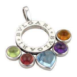 Bulgari Bvlgari 18K White Gold 5ct Multicolor Gems Round Pendant