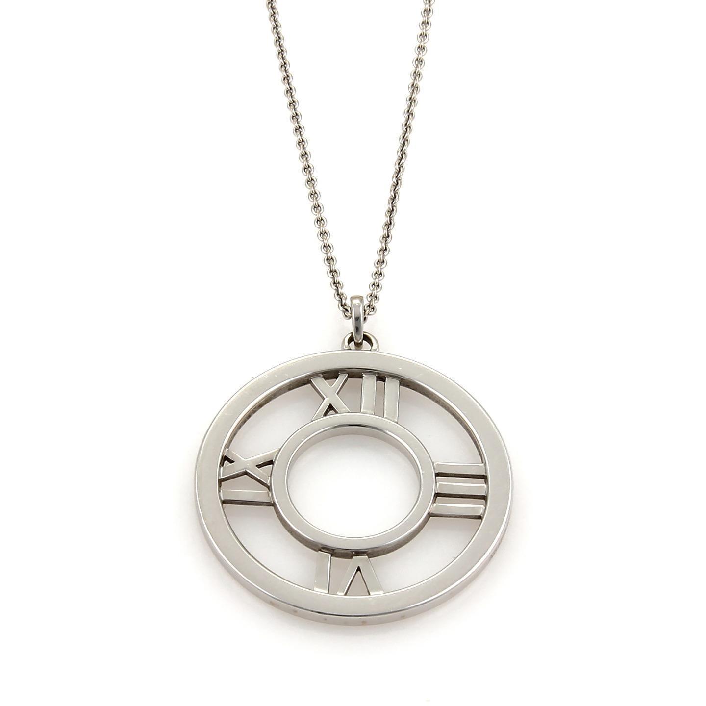 "Image of ""Tiffany & Co. 18K White Gold Round Pendant Necklace"""