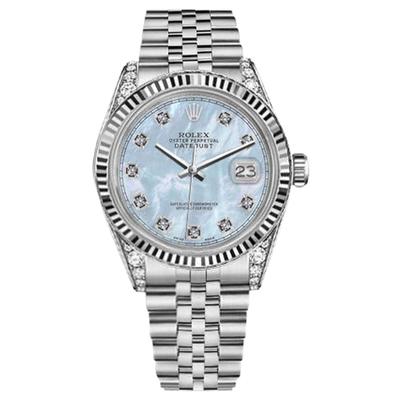 """Image of """"Rolex Datejust Stainless Steel Baby Blue MOP Mother Of Pearl Diamond"""""""