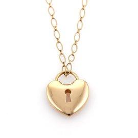 Tiffany & Co. 18K Rose Gold Heart Padlock Pendant Necklace