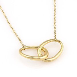 Tiffany & Co. Peretti 18K Yellow Gold Oval Ring Pendant Necklace