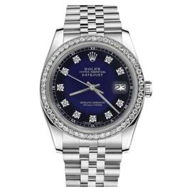 Rolex Datejust Stainless Steel Blue Vignette Color Dial with Diamond Accent SP 26mm Womens Watch