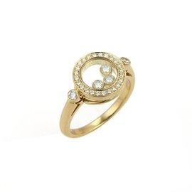 Chopard Happy Diamond 18K Yellow Gold & Diamond Bezel Round Top Ring Size 6