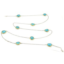 Gurhan Organic Elements Sterling Silver & 24K Layered Yellow Gold Turquoise Necklace