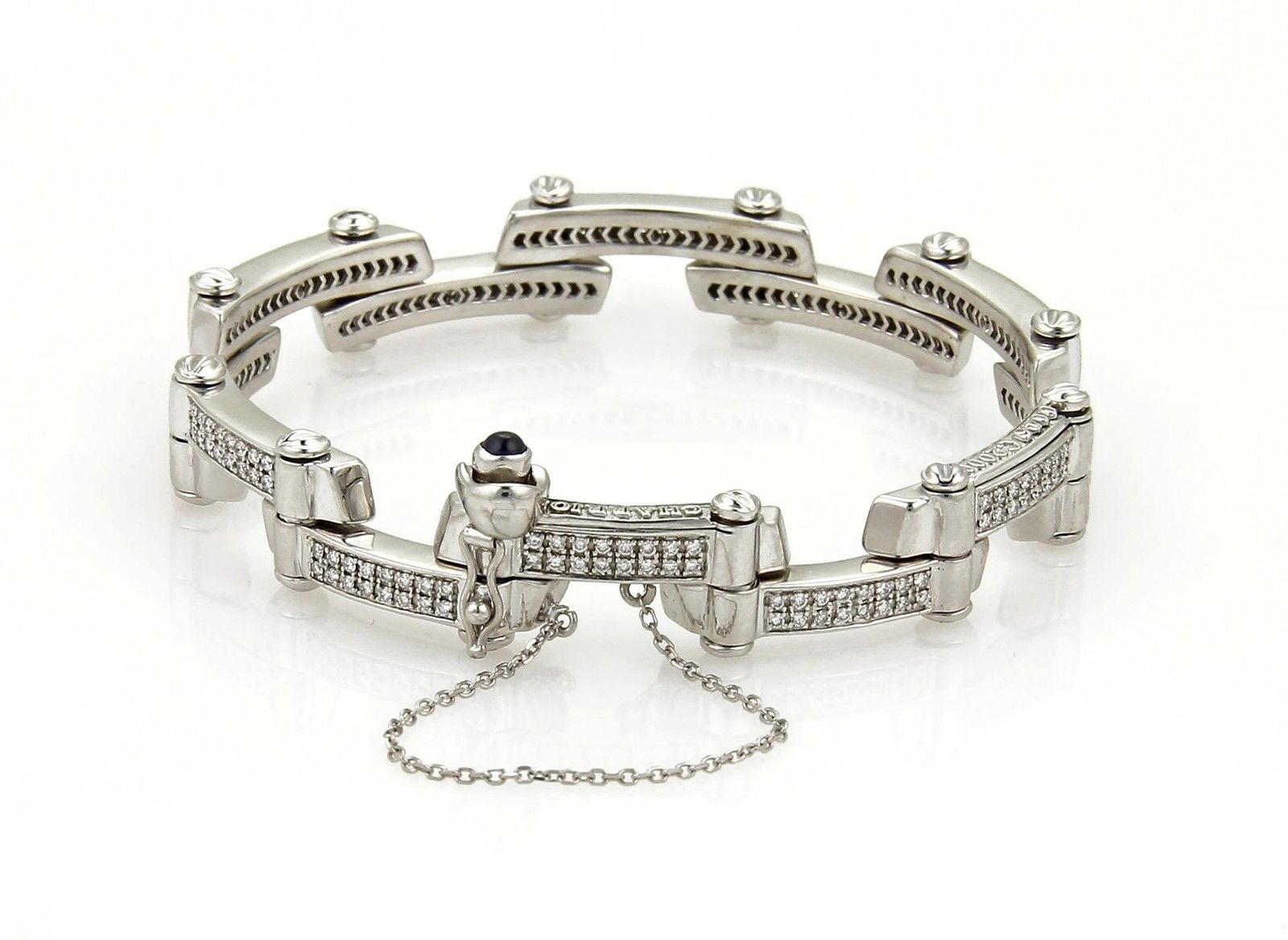 "Image of ""Philipe Charriol 18K White Gold 1.00ct Diamond Fancy Long Bar Flex"""