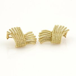 Tiffany & Co. 18K Yellow Gold Fringed Wire Ribbon Earrings