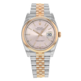 Rolex Datejust 116201 18K Rose & Steel Automatic 36mm Mens Watch