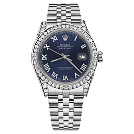 Rolex Datejust Stainless Steel Navy Blue Roman Numeral Diamonds 26mm Unisex Watch