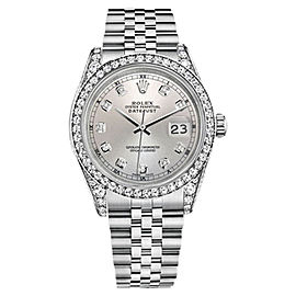 Rolex Datejust 18K White Gold & Stainless Steel Silver Diamond Face 26mm Unisex Watch