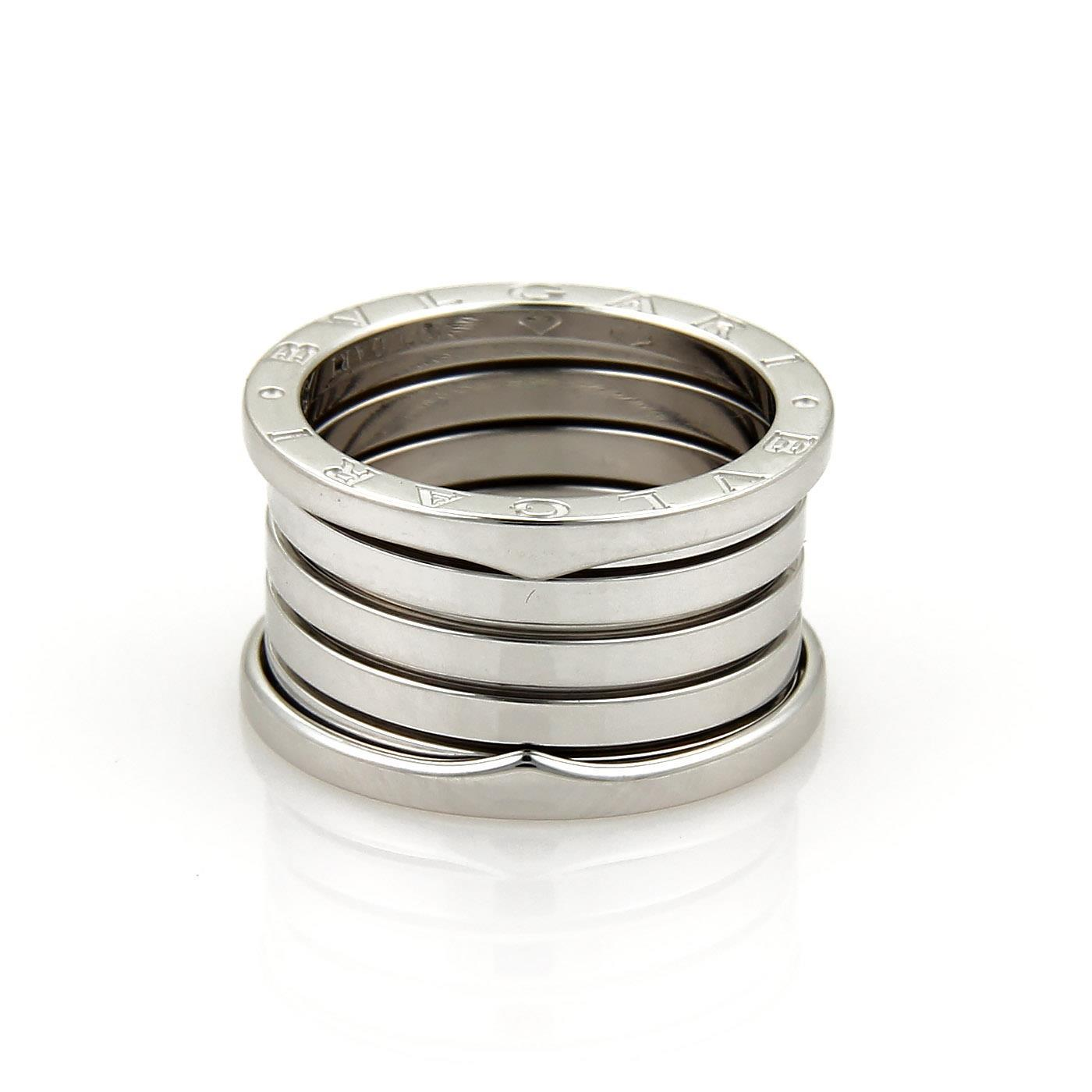 "Image of ""Bulgari 18K White Gold B Zero-1 5 Row Band Ring Size 6.5"""