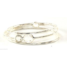 Ippolita Sterling Silver Clear Quartz Diamond Bangle Bracelet Set