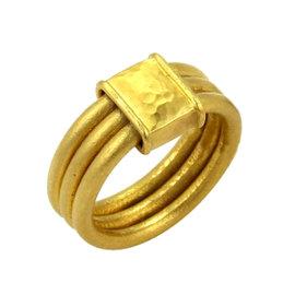 Gurhan Horizon 24K Yellow Gold 3 Band Stack Ring Size 6