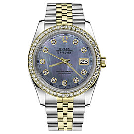 Rolex Datejust Stainless Steel/ 18K Gold Tahitian Mother of Pearl w Diamond Numbers 26mm Womens Watch