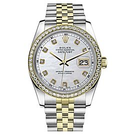 Rolex Datejust Stainless Steel/ 18K Gold White Mother of Pearl wDiamond 26mm Womens Watch