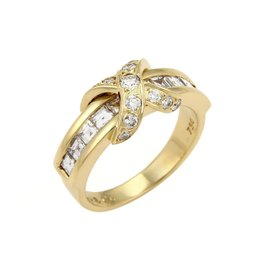 Tiffany & Co. 18K Yellow Gold Signature Round & Asscher Diamonds Ring Size 8.5