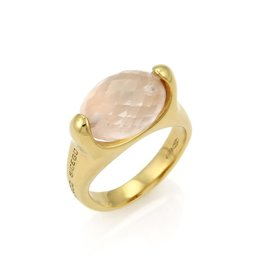 Marco Bicego Briolette 18K Yellow Gold with Rose Quartz Ring Size 7.25