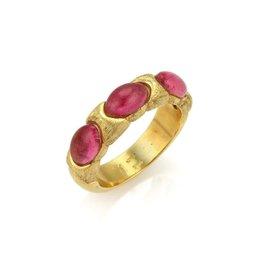 Marco Bicego 18K Yellow Gold & Pink Tourmaline Ring Size 7.5