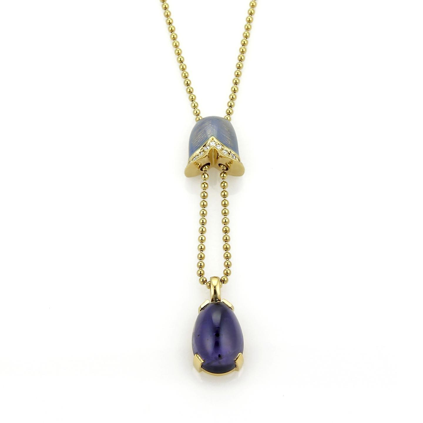 "Image of ""Faberge 18K Yellow Gold Diamond Amethyst Guilloche Enamel Pendant Bead"""