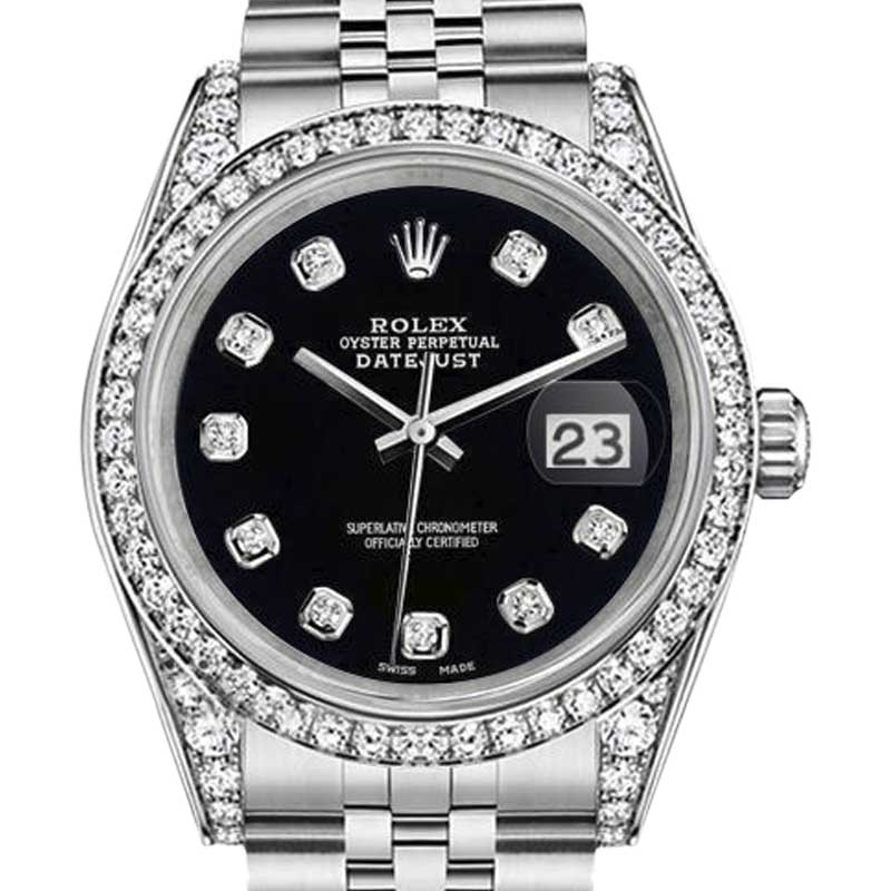 "Image of ""Rolex Datejust Stainless Steel Jubilee Bracelet Black Dial 26mm Womens"""