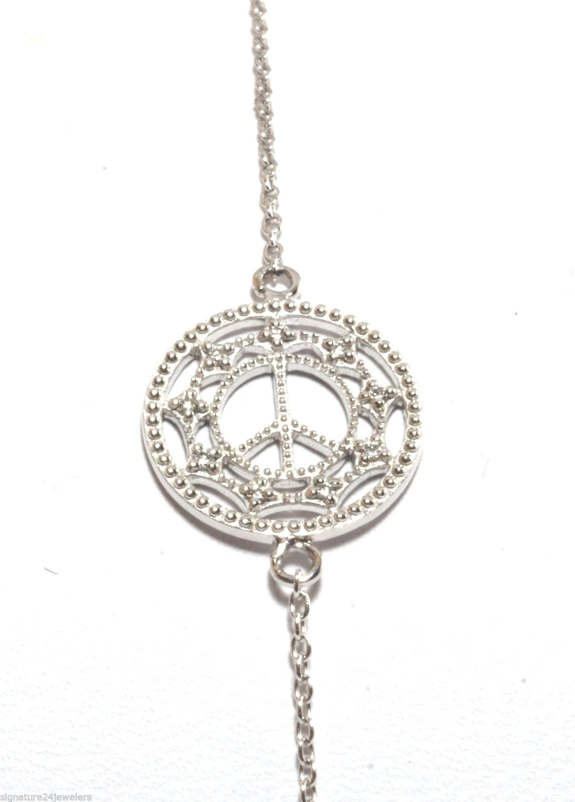 "Image of ""Zasha BY Jude Frances 14K White Gold Small Chain Link Diamond Peace"""
