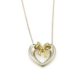 Tiffany & Co. 925 Sterling Silver & 18K Yellow Gold Heart & Bow Pendant Necklace