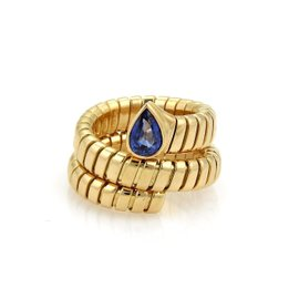 Bulgari Tubogas 18K Yellow Gold with 1.07ct Sapphire Band Ring