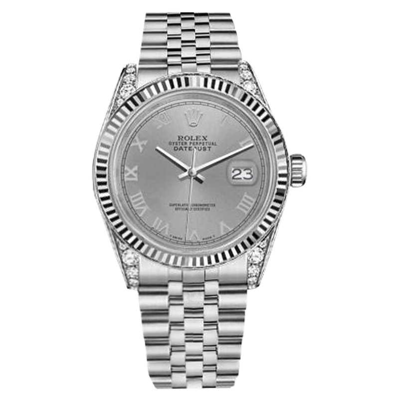 "Image of ""Rolex Datejust Stainless Steel/18K White Gold Slate Grey Roman Dial"""