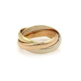 Cartier 18K Yellow White & Rose Gold Trinity Rolling Band Ring Size 6.75
