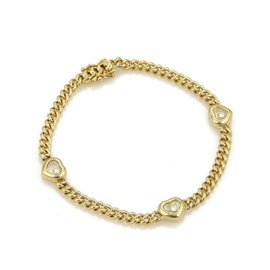Chopard Happy Diamond 18K Yellow Gold 3 Hearts Charm Chain Bracelet