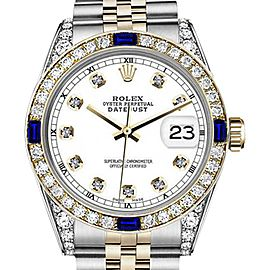 Rolex Datejust 2 Tone White Dial Sapphire & Diamond Accents 26mm Unisex Watch