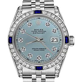 Rolex Datejust Ice Blue Dial with Sapphire & Diamonds Bezel Accent RT 26mm Unisex Watch